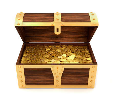 coin box: Wooden treasure chest with gold coins printed with royal crown - 3d render