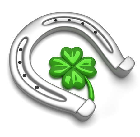 Horseshoes and clover with four leaf Stock Photo - 8041776