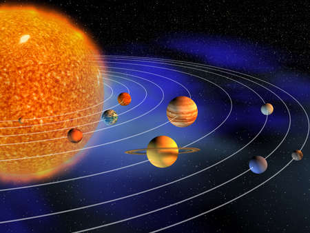 planet: Diagram of planets in solar system - 3d render Stock Photo