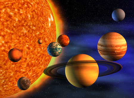 3d planets: Planets in solar system - 3d render illustration Stock Photo