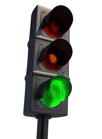 Trafic light isolated on white - 3d render photo