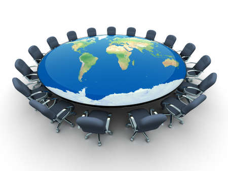 Conference table in the middle globe - this is a 3d render illustration Stock Illustration - 8628426