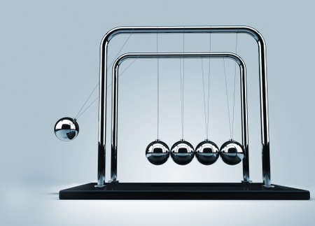 Newtons cradle - this is a 3d render illustration illustration