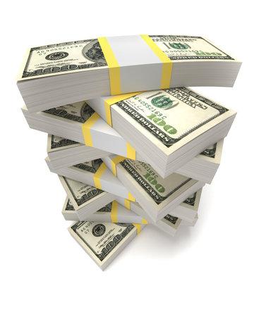 Piles de dollars - ceci est une illustration de rendu 3d