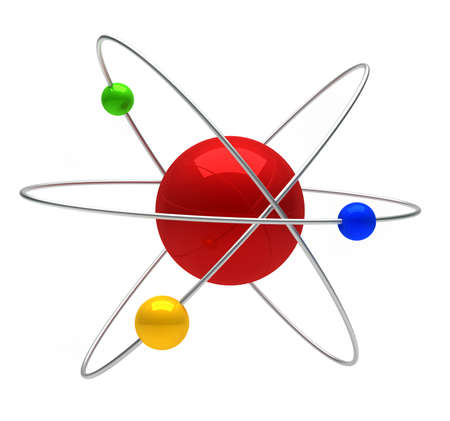 Conceptual structure of atom over white- 3d render  Stock Photo - 8628459
