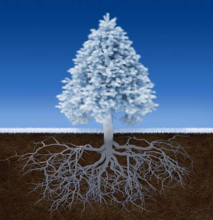 3d render illustration of a white christmas tree with root illustration