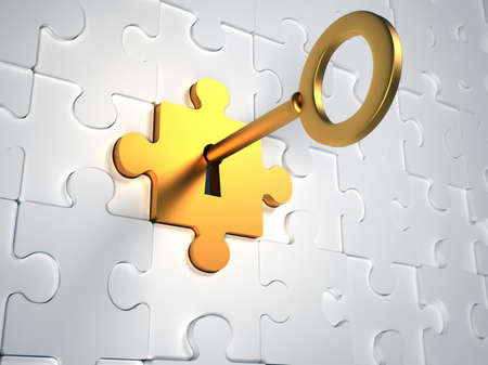 to lock: Chiave d'oro e pezzi di un puzzle - illustrazione rendering 3d Archivio Fotografico