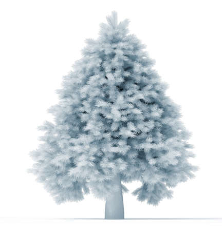 undecorated: Undecorated white christmas tree over white - 3d render illustration  Stock Photo