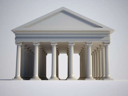 foundation: Roman building with ionic style columns - 3d render