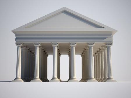 derecho romano: Romano con procesamiento de - 3d de las columnas de estilo j�nico  Foto de archivo