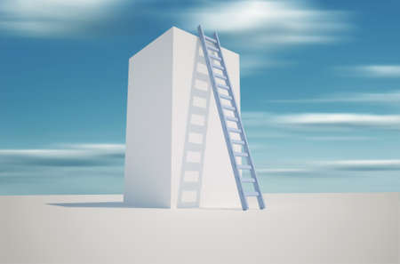 Illustration of a ladder leaning against a tower - 3d render  Stock Illustration - 8626819