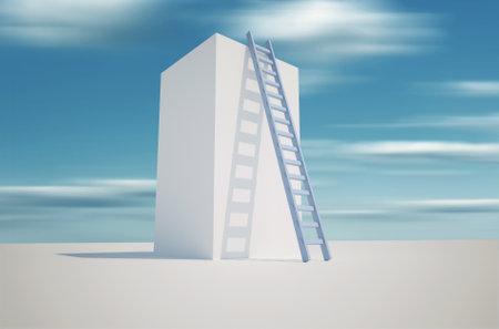 Illustration of a ladder leaning against a tower - 3d render Stock Illustration - 8626819