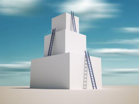 Ladders leaning against a tower - 3d render illustration Stock Illustration - 8626840
