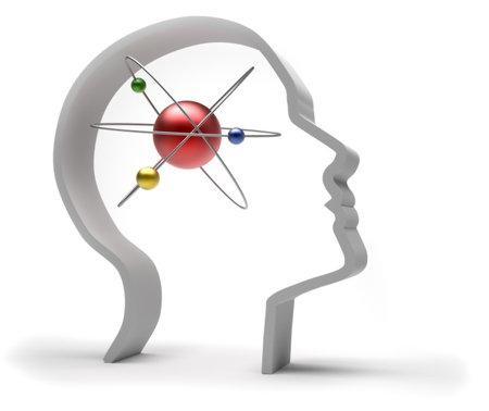 white atom: Human head with atom - 3d render illustration Stock Photo