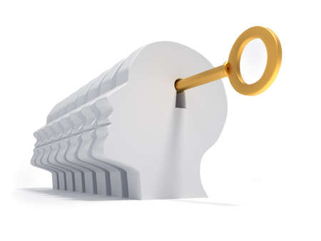 Human head and golden key - 3d render illustration illustration