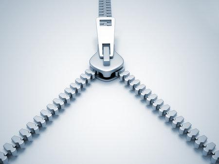 Open Reißverschluss - dies ist ein 3D-Render Illustration