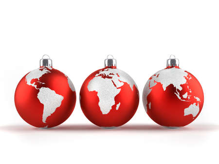 Christmas ornaments with world maps - 3d render  photo