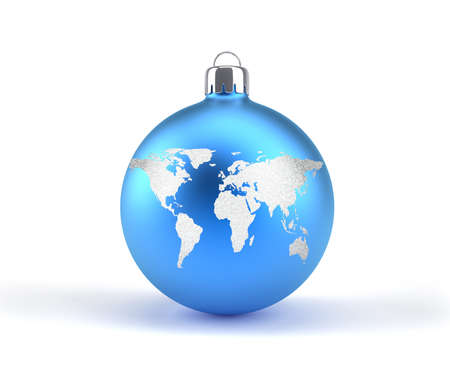 Christmas ornaments with world map - 3d render illustration illustration