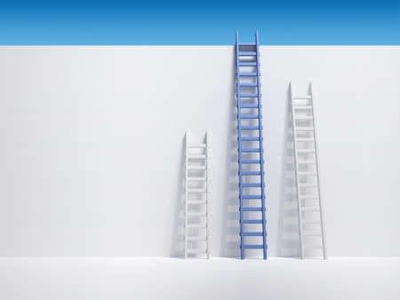 step ladder: Three ladder leaning the wall - 3d render illustration