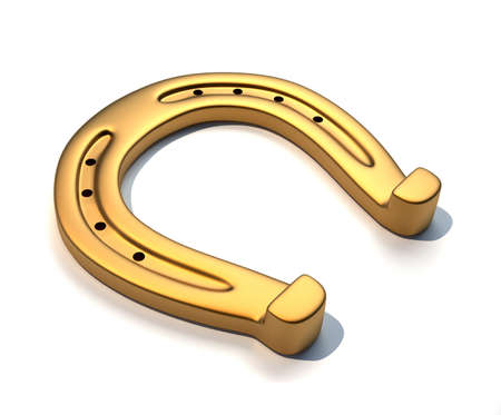 superstitions: Golden horseshoe - this is a 3d render illustration  Stock Photo