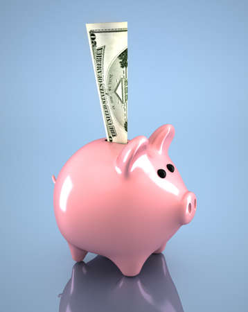 Pink piggy bank and dollar in it - 3d render Stock Photo - 8628528
