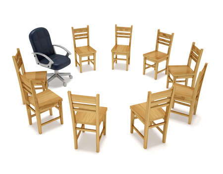 group discussions: Chairs in circle - this is a 3d render illustration