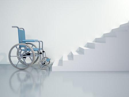 sedia vuota: Si tratta di una sedia a rotelle davanti alle scale - illustrazione di rendering 3d