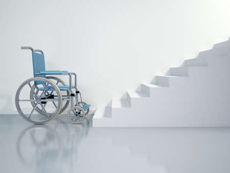 Wheel chair: Wheelchair in front of stairs - this is a 3d render illustration  Stock Photo