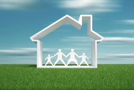 House symbol and family - this is a 3d render illustration illustration
