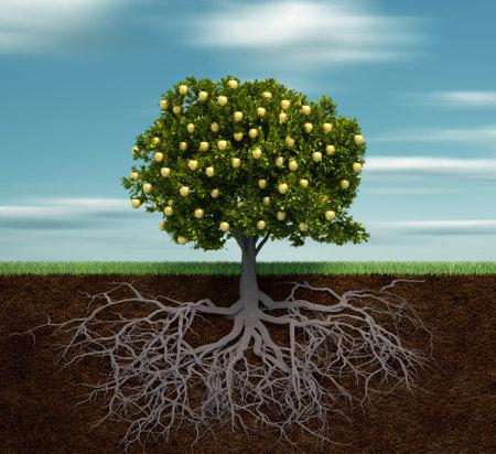 arbol de manzanas:  Árbol con manzana dorada - esto es una ilustración de render 3d Foto de archivo
