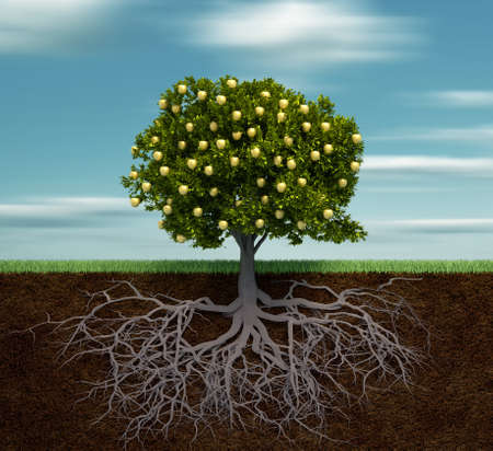 Tree with golden apple - this is a 3d render illustration illustration