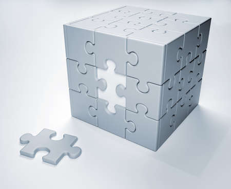 Jigsaw  puzzle - this is a 3d render illustration Stock Illustration - 8628555