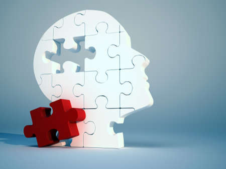 Puzzle head - this is a 3d render illustration  Stock Photo