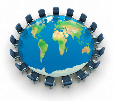 Conference table with world map - this is a 3d render illustration Stock Illustration - 8628551