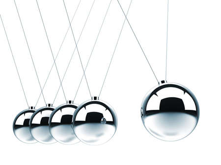 cradle: Close up of Newtons cradle - this is a 3d render illustration