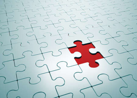Puzzle game with missing piece- this is a 3d render illustration  illustration
