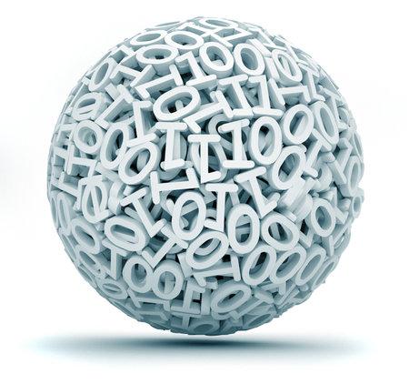 Sph�re faite de z�ro et une illustration de render - 3d (concept de code binar)  Banque d'images