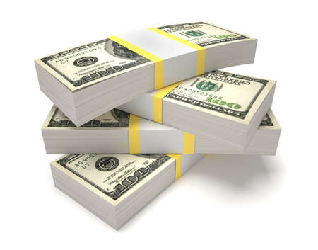 abundance money: Stacks of dollars - this is a 3d render illustration  Stock Photo