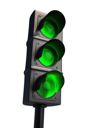 onward: Traffic light isolated on white - 3d render  Stock Photo