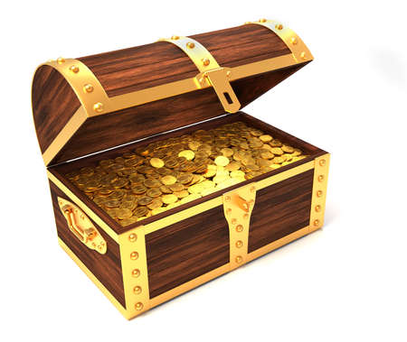 gold treasure: Wooden treasure chest with gold coins printed with royal crown - 3d render