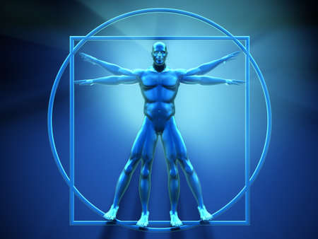 inscribed: Vitruvian man - this is a 3d render  illustration