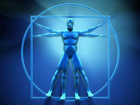 Vitruvian man - this is a 3d render  illustration Stock Illustration - 8628508