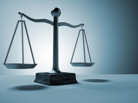 balanza justicia: Escala de lat�n conceptual - esto es un 3d procesar ilustraci�n Foto de archivo