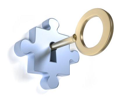 Jigsaw puzzle stuk met sleutel - dit is een 3d render illustratie