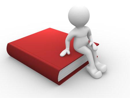 Zeichen: Menschlichen Charakter sitzen auf einem gro�en Buch - 3d render Lizenzfreie Bilder