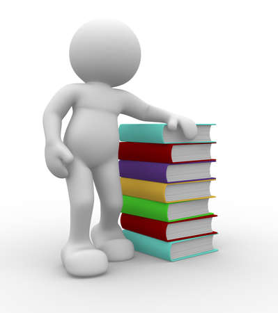 3d human charcater sitting by a stack of books Stock Photo - 9034496