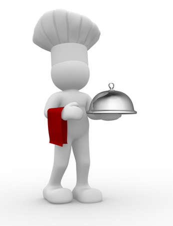 chef 3d: 3d chef serving -  this is a 3d render illustration