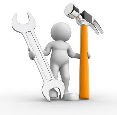Travailleur avec un marteau et une clé - 3d render illustraion