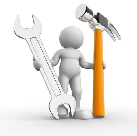 Worker with hammer and wrench - 3d render illustraion