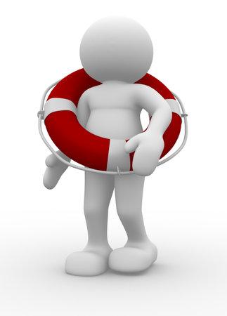 Caractère avec illustration de rendu 3d de bouée de sauvetage de personnes